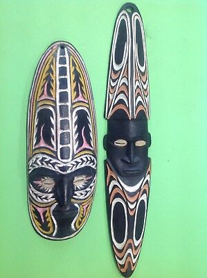 Collection Of 9 Papua New Guinea Hand Carved Items  Some With Cowrie Shells