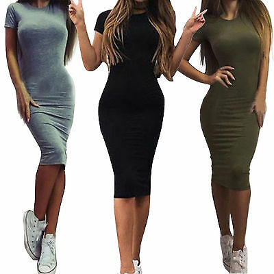 Women's Crew Neck Narrow Waist Short Sleeve Bodycon Plain Ruched Slim Fit Dress