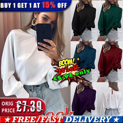 UK Womens Puff Sleeve Casual OL Shirts Ladies Solid Color High Neck Tops Blouse