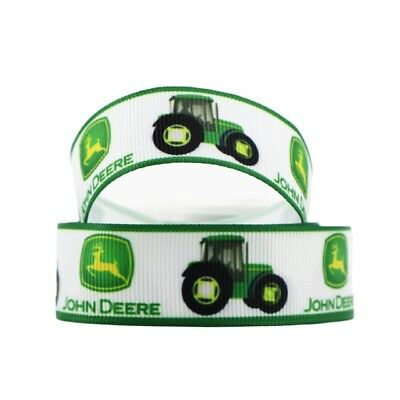 Grosgrain Ribbon John Deere Tractor 22mm (1m, 2m or 5m)