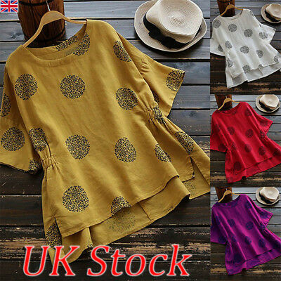 UK Womens Summer Casual Loose Tops Blouse Ladies Plus Size Casual T shirt 8-28
