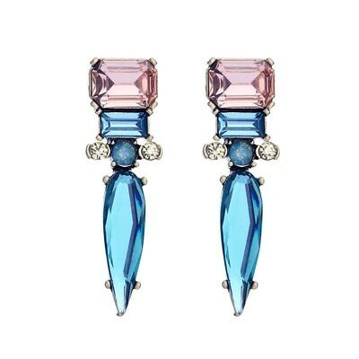 New fashion Beautiful cute Blue Alloy+crystal earrings Water drop earrings W7J1