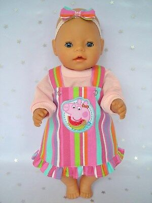 """Dolls clothes  for 17"""" Baby Born  doll~PEPPA PIG STRIPE PINAFORE~TOP~HAIR BOW"""
