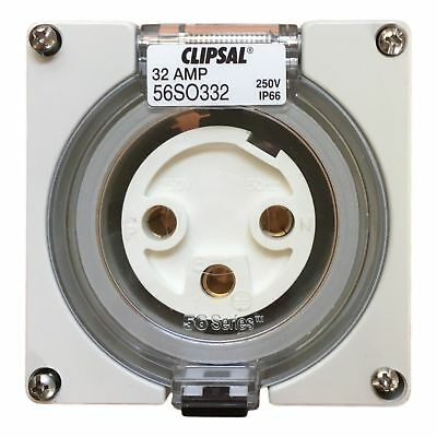 Clipsal 56SO332 IP66 weather waterproof 3 round pin plug socket 32 Amp