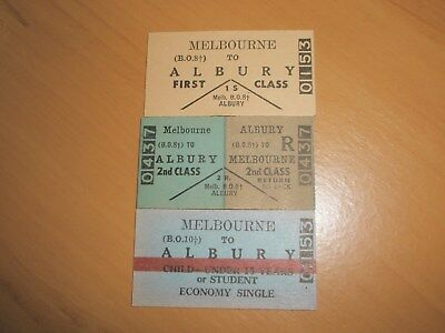 Victorian Railway Tickets Melbourne To Albury Singles/Return x 3 Mint.