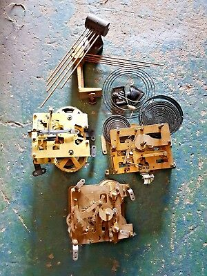 3 x Mechanical Clock Movements and some chime bars for spares or repairs