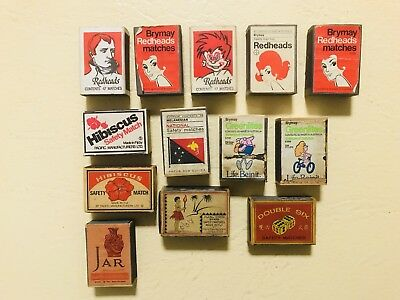 13 x Vintage Redheads Hibiscus Greenlites National Double Six Safety Match Boxes