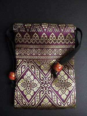 Handmade Thai Purple Silk Tarot Pouch Bag Dice Pouch Jewelry Bag With Drawstring