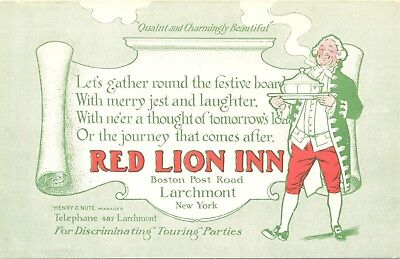 Larchmont N.Y. C. 1900s Early promo card from Red Lion Inn on the Post Road