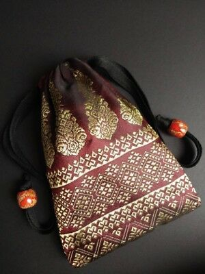 Handmade Thai Maroon Silk Tarot Pouch Bag Dice Pouch Jewelry Bag With Drawstring