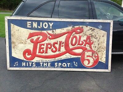 Vintage wood framed metal 4' x 8' PEPSI Cola 5 cent double dot sign