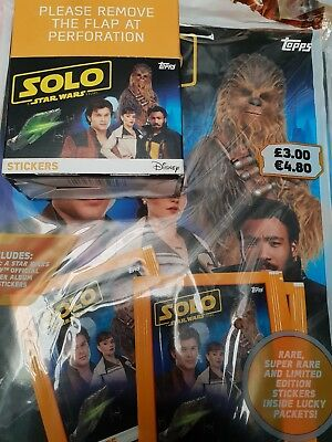 TOPPS STAR WARS SOLO STICKER 40 PACKS FULL BOX  PACKETS + Album stickers