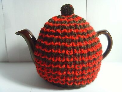 small hand knitted thick chunky tea cosy cozy brown red black green gift idea