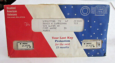 2- 1975 INDIANA DAV License plate key tags in Original Mailer, With papers