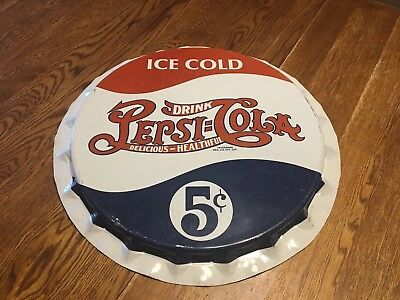 Vintage Pepsi-Cola Bottle Cap 5 cents Metal Wall Hanging Advertising Sign 19""