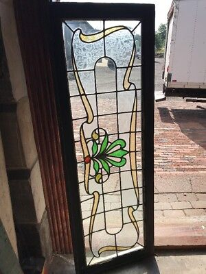 SG 2391 antique Stainglass transom window 18.5 x 52.5
