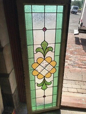 SG 2392 antique stained glass with beveled center transom window 18.5 x 54.5