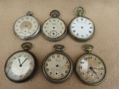 X 6 Antique And Vintage Pocket Watches For Spares Repair