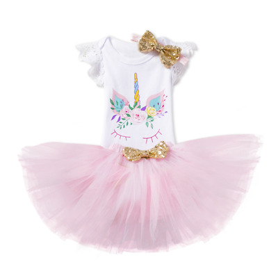 AU First Birthday Unicorn Dress Outfits Romper Skirt 3pcs Clothes For Baby Girls