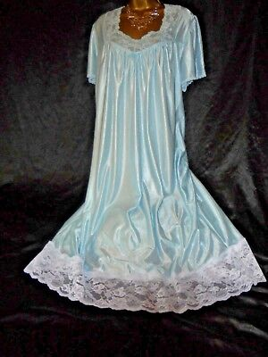 Stunning vtg silky  nightie dress slip negligee nightdress  chest  20/22 blue