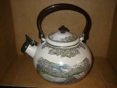vtg coffee/TEA POT/KETTLE Johnson Brothers Friendly Village-pattern/design