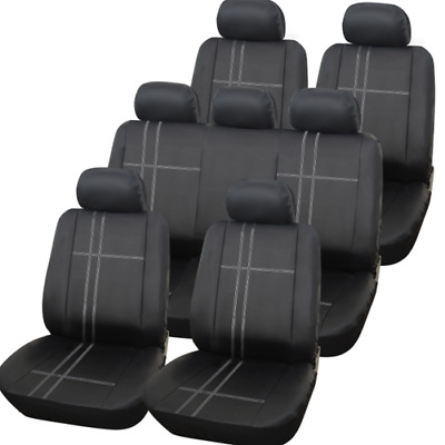 BLACK / GREY 13PC TEXAS PREMIUM SEAT COVER SET FOR Nissan Qashqai 2007 - 2013