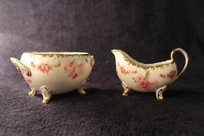 Antique Porcelain Floral Footed Cream & Sugar Marked Carnation Germany