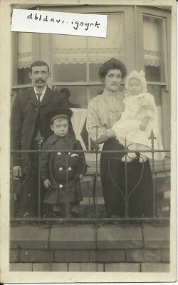 Vintage RP postcard of family at Cwm, Monmouthshire - HMS Essex connection