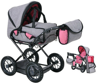 Knorrtoys Puppenwagen Ruby (Jeans Grau) Kinderpuppenwagen Kinderwagen Puppe NEU