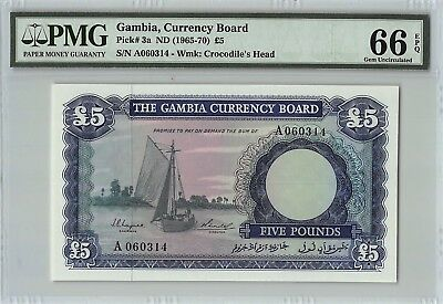 Gambia ND (1965-70) P-3a PMG Gem UNC 66 EPQ 5 Pounds