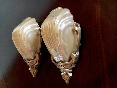 30s Art Deco Markel Wall Sconce Fixtures Antique Glass Slip Shades Pair