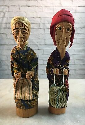 Vintage Hand Carved Wood Fabric Folk Art Couple Man Woman Statues Dolls Decor y