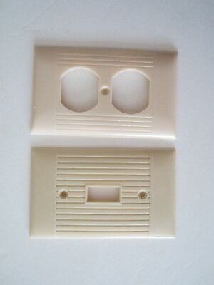Vintage Bakelite Ivory Sierra 2 gang Plug and switch Plate Cover Art Deco ribbed
