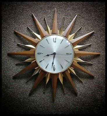 VINTAGE ORIGINAL 1960's ICONIC METAMEC MODERNIST SUNBURST STARBURST WALL CLOCK