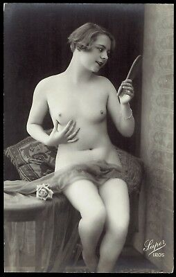 FRENCH NUDE REAL PHOTO POSTCARD - GIRL w HAND MIRROR - RPPC - LUPER MODEL #1205