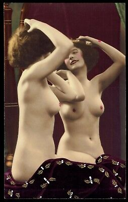 FRENCH NUDE REAL PHOTO POSTCARD - HAND-TINTED - GIRL in MIRROR - RPPC - PC PARIS