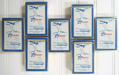 7 Vintage SEALED BOXES of 1960's QUICK AIR FREIGHT PORT COLUMBUS Playing Cards