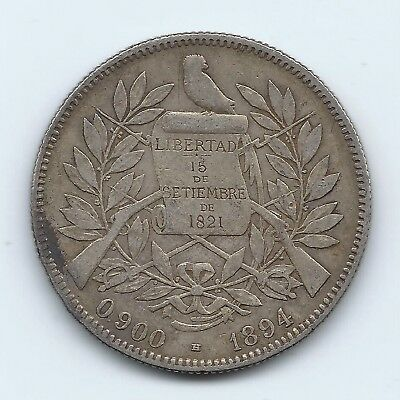 Guatemala 1894 Silver 4 Reales- Great Shape- No Reserve