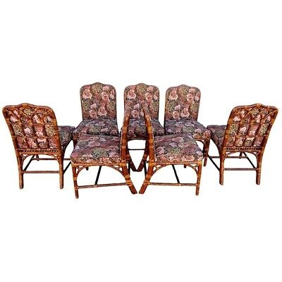 Vtg Set 6 McGuire Rattan Cathedral Back Dining Chairs Chippendale +1 Bonus Chair