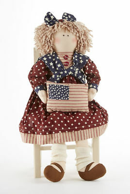 "NEW!! Primitive Country Patriotic 18"" Americana Rag Doll With Fabric Flag Pillow"