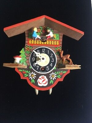 Wooden Miniature Key Wind Cuckoo Clock Hand Painted Made in W Germany