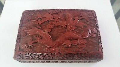 Chinese Carved Cinnabar Lacquer Box Red Color Ching China antique with DRAGON