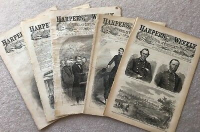 Harpers Weekly LOT OF 5 Abraham Lincoln Civil War Authentic full issues
