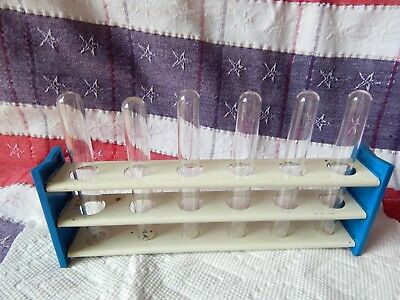 Vintage Laboratory - Metal Test Tube Holder Blue + 6 Test Tubes - Some Pyrex