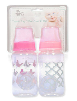 Cribmates Baby Girls' 2-Pack Wide-Neck Bottles (11 Oz.)