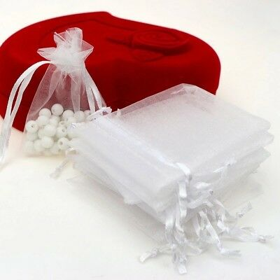 White 100 Piece Drawstring Organza Bag 7x9 Cm Wedding Gift Jewelry Package Pouch