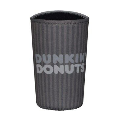 Dunkin' Donuts Multi Size Cup Cooler Beverage Koozie, Gray Striped, New