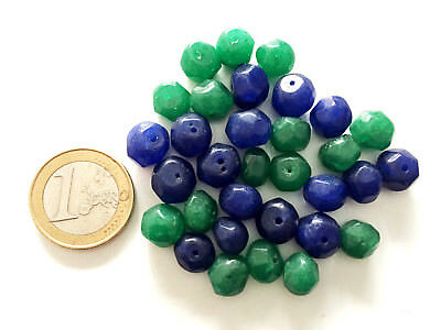 Lot 32 Natural Emerald and Sapphire Hand Carved Beads - Handmade