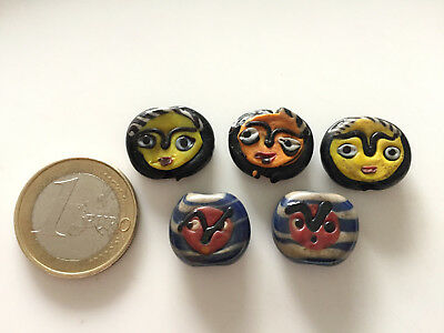 Lot 5 Old Islamic Double Face Hand Carved Beads - Handmade