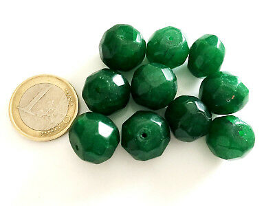Lot 10 Big Natural Emerald Hand Carved Faceted Beads - Handmade